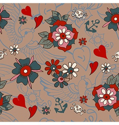 Seamless Vintage pattern with flowers for vector image vector image