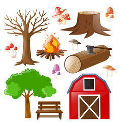 Set of barn and woods vector