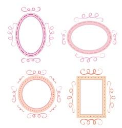 Set of cute hand-drawn empty retro frames vector image