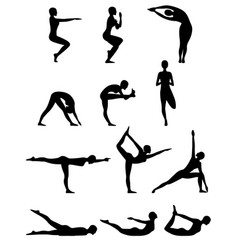 Set of twelve abstract female yoga poses vector