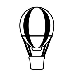 sketch silhouette image striped hot air balloon vector image
