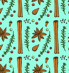 Sketch spices and herbs in vintage style vector image vector image