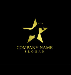 Star horse logo on black background vector