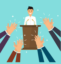 Success in business man giving a speech on stage vector