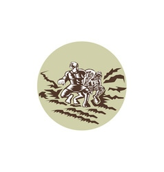 Tiitii Wrestling God of Earthquake Circle Woodcut vector image vector image