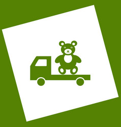 Truck with bear white icon obtained as a vector