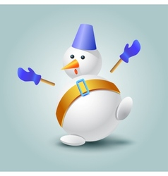 Very surprised snowman vector image vector image