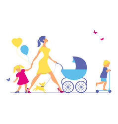 Woman with two children and dogs super mother vector