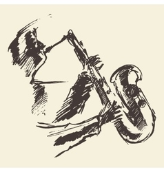 Man playing saxophone drawn sketch vector
