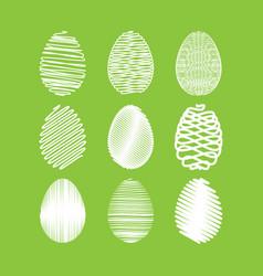 Easter egg set white scribble effect on vector