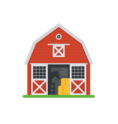 red horse barns in flat design vector image