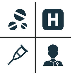 Drug icons set collection of hospital cure vector