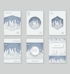 Paper silhouette urban landscape city real estate vector