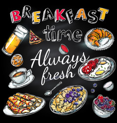 breakfast time poster vector image