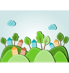 Dashed landscape houses with trees vector