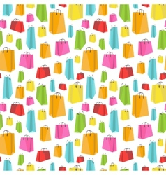 Flat colorful shopping bags on white seamless vector image