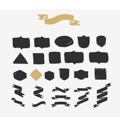 Hand drawn ribbons icons and elements vector