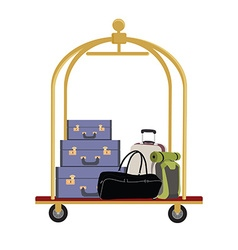 Hotel luggage cart vector