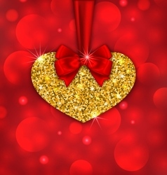 Shimmering golden heart with red ribbon vector
