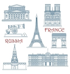 Thin line Russia and France landmarks vector image