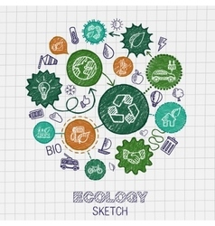 Ecology hand drawing integrated icons vector