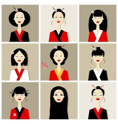 Asian women portraits collection for your design vector