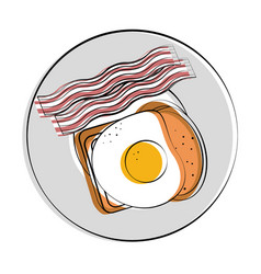 Bread with fried egg and bacon strips breakfast vector