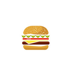Burger icon isolated flat cartoon sandwich vector