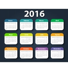 Calendar 2016 year design template in vector image