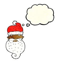 Cartoon grim santa face with thought bubble vector