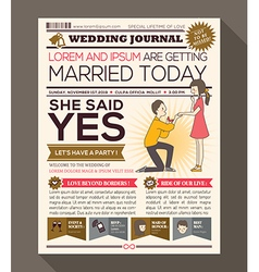 Cartoon Newspaper Journal Wedding Invitation vector image vector image