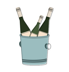 Champagne bottles on ice bucket vector