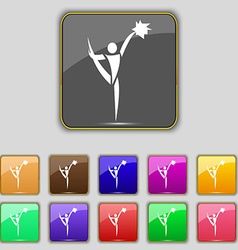 Cheerleader icon sign set with eleven colored vector