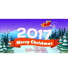 Christmas card with tree and santa Claus vector image vector image