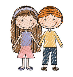 Color pencil drawing of caricature couple kids in vector