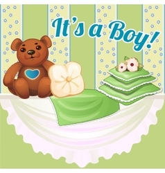 Decor baby cot with pillows and soft bear vector