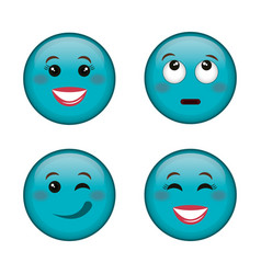 Emoticons faces characters icons vector