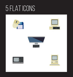 Flat icon laptop set of computer mouse vintage vector