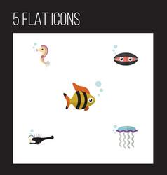 Flat icon sea set of hippocampus seafood scallop vector