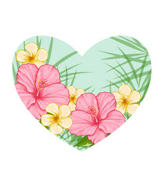 Green heart of tropical flowers vector