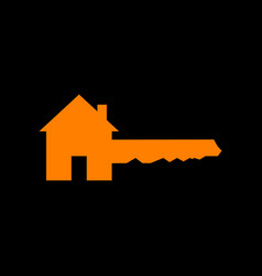 Home key sign orange icon on black background vector