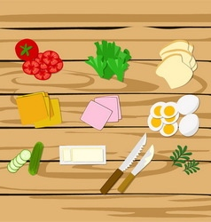 Ingredients for sandwiches vector image