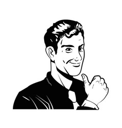 man business comic style black and white vector image