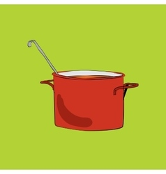 Pot with ladle vector image vector image