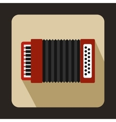 Red accordion icon flat style vector