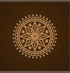 Round pattern in arabic style on brown background vector