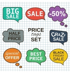 Sale promotion speech bubbles collection set with vector image