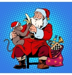 santa claus monkey symbol new year 2016 vector image vector image