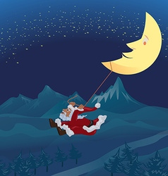 Santa swinging rope tie up with crescent moon in vector image vector image