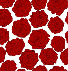 seamless pattern of red roses on a white backgroun vector image vector image